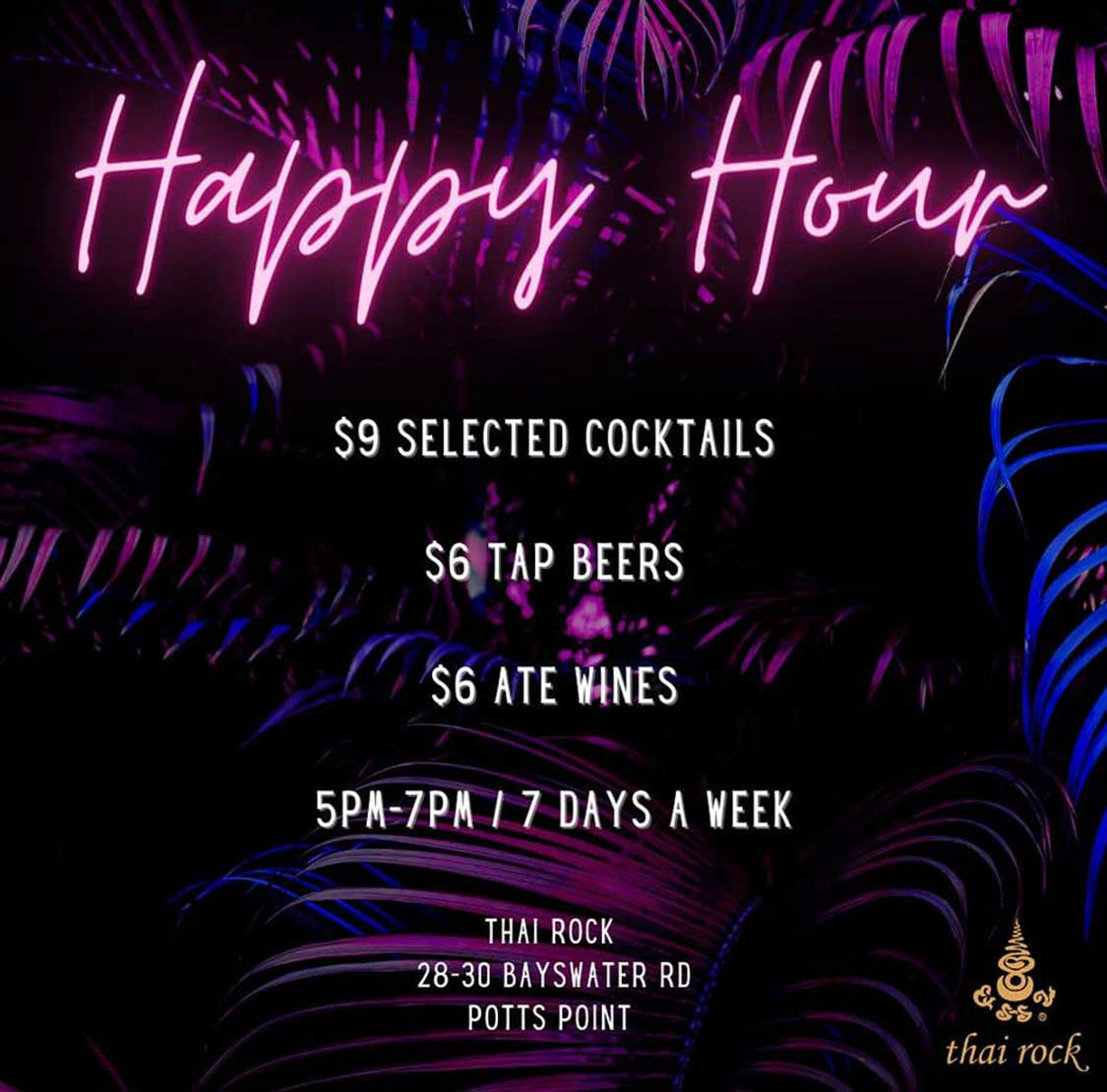 Thai Rock Potts Point Happy Hour - cocktails beers and wines